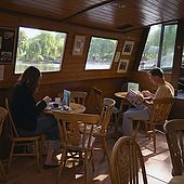 United Kingdom London Regent's Canal Little Venice The Waterside Cafe on the houseboat.