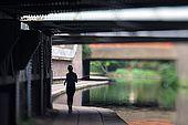 United Kingdom London Regent's Canal Footing under a railway bridge along the Maida Vale.