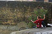 United Kingdom London Regent's Canal Younger fishermen.