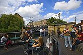 United Kingdom London Regent's Canal Bar and youngers along the canal at Camden.