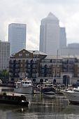 United Kingdom London Regent's Canal Limehouse Basin and Canary Wharf skyline.