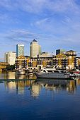 United Kingdom London Regent's Canal Limehouse Basin - The harbour and Canary Wharf skyline