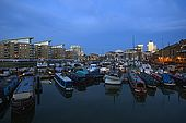 United Kingdom London Regent's Canal Limehouse Basin - The harbour, with Canary Wharf buildings in background