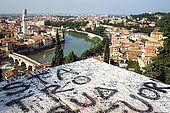 A view over Verona with graffiti, Veneto, Italy