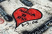 'Marica I love you'. Graffiti on the walls of Verona, Veneto, Italy