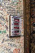 Love messages written on the doorbell near Juliet's house, Verona, Veneto, Italy