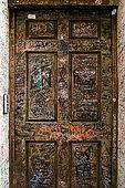 A door near Juliet's house is covered with love graffiti, Verona, Veneto, Italy
