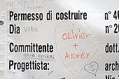 Love hearts written at a building site, Verona, Veneto, Italy
