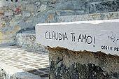 'Claudia I love you'. Graffiti on the walls of Verona, Veneto, Italy