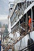 Captain Zeljko Matejcic looking out from his rusting ship, Galeb, Tito's old luxury yacht, Rijeka, Croatia