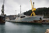 Galeb, Tito's old luxury yacht, lies in a state of decay in a shipyard in Rijeka, Croatia. The Croatian government intends to convert the ship into a floating museum.