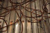 Rusting cables on Galeb, Tito's old luxury yacht, Rijeka, Croatia