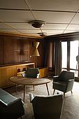 The lounge of a private appartment on Galeb, Tito's old luxury yacht, Rijeka, Croatia. Guests on the boat have included Fidel Castro, Nehru, Elisabeth Taylor and Winston Churchill.