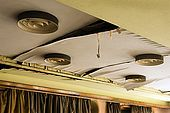 Detail of the ceiling lights with their 1960s design, now damaged by water leaking in. Galeb, Tito's old luxury yacht, Rijeka, Croatia