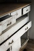 Instrument and map cabinet on the bridge of Galeb, Tito's old luxury yacht, Rijeka, Croatia
