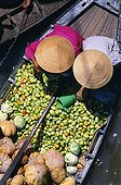 Vietnam;Cantho Province;Mekong Delta - Overview of two women sorting vegetables on a boat at the floating market on the Mekong River, near the town of Cantho.