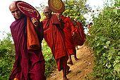 Arakan, Vesali, monks going to Hsu Taung temple