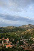Croatia Lastovo Island View of Lastovo village from the Kastel (meteoroloska stanica)