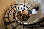 Croatia Lastovo Island Struga lighthouse - Jure, the lighthouse-keeper, going up the lighthouse to the lamp.
