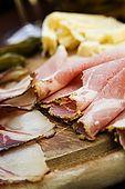 Plate of local meats and cheeses. Taverna al Ponte, Bassano del Grappa, Veneto, Italy. tel: 0424 503662