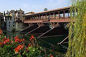 Ponte degli Alpini Bridge, re-built by Alpini volonteers after it was destroyed in the First World War. Bassano del Grappa, Veneto, Italy