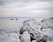 Fishing boats early morning on the bay at Skala Kallonis, Lesvos, Greece