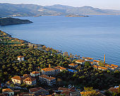 View across Molynos from the castle, Lesvos, Greece