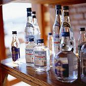 Selection of Ouzo bottles, Lesvos, Greece