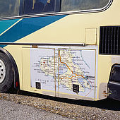 Map of the island on the side of a local coach, Lesvos, Greece