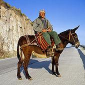 Man on a donkey, Lesvos, Greece