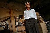Mr. Eqerem, retired electrician, now barrel-making guru, KorAÌ