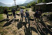 Harvesting grapes in the village of Pellumbar, Valley of Permet, Albania