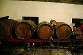 Old barrels in a cellar of Kelcyre, Valley of Permet, Albania