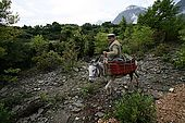 Riding a donkey near Iljare, Valley of Permet, Albania