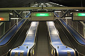 Sweden, Stockholm, Tunnelbana or T-bana (subway), Rissne station, escalator, 'UPP'