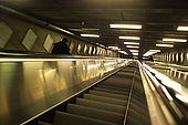 Sweden, Stockholm, Tunnelbana or T-bana (subway), escalator, 'down'