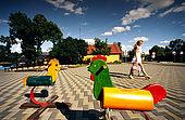 Trakai, Lithuania: toys in the Trakai's former main square.