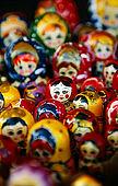 Trakai (Lithuania); Matrioska dolls on sale by one of the many souvenir shops along the Galves lake;