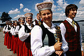 Trakai Lithuania. Young people wearing traditional costumes during a parade;