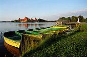 Trakai, Lithuania: boats moored along the coast of the Galves lake;
