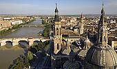 View over Zaragoza, River Ebro and Basilica del Pilar, Zaragoza, Saragossa, Aragon, Spain