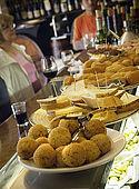Selection of tapas on the bar at Bodegas Almau Tapas Bar, Zaragoza, Saragossa, Aragon, Spain. tel: 976 299 834