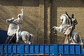 'Olympic Salute: the classic athlete' (Pablo Gargallo, 1929) statues being taken away for renovation, Plaza de San Felipe, Zaragoza, Saragossa, Aragon, Spain