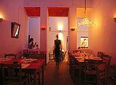 Plaka town, Alisaxni Restaurant, Milos Island, Greece