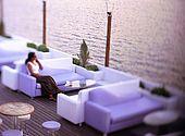 Adamas village, Pharos Cafe, Milos Island, Greece