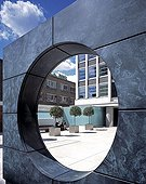 Uk; Ec1 Clerkenwell; London; City Road; Olivers Yard; Exterior View Through Copper Circle With Distant Figure; Architect: Orms