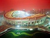 Night view of Shanghai Stadium in Shanghai