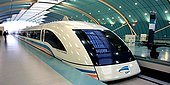 A maglev (transrapid) train stops at a station in Pudong in Shanghai.