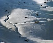 Italy, Veneto, I World War (1915-1918) Monte Grappa locations. Trench under the snow below the Mount Coston