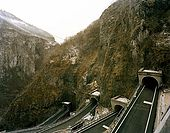 Italy, Veneto, I World War (1915-1918) locations. San Bold pass road, also called the '100 days road'. Build by the Austrian  troops  in 3 month.
